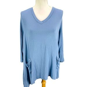 LOGO Lori Goldstein Sky Blue 3/4 Sleeve Tunic Top